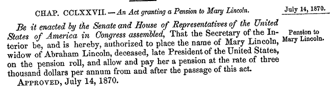 Mrs A Lincoln Requests A Widow S Pension 1869 Rice
