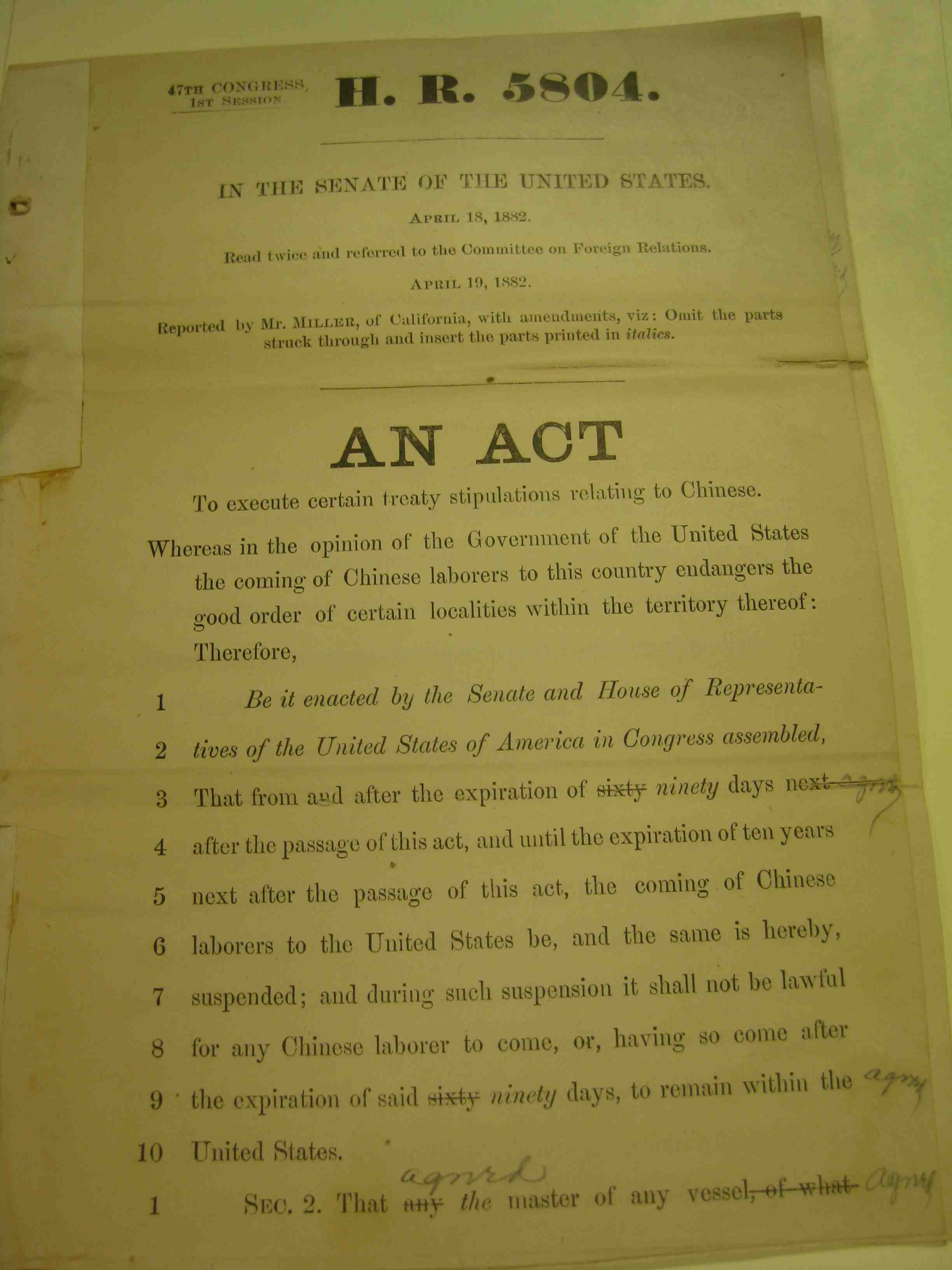chinese exclusion act This year marks the 130th year since the passage of the chinese exclusion act of 1882 it was the first federal law that excluded immigration of.