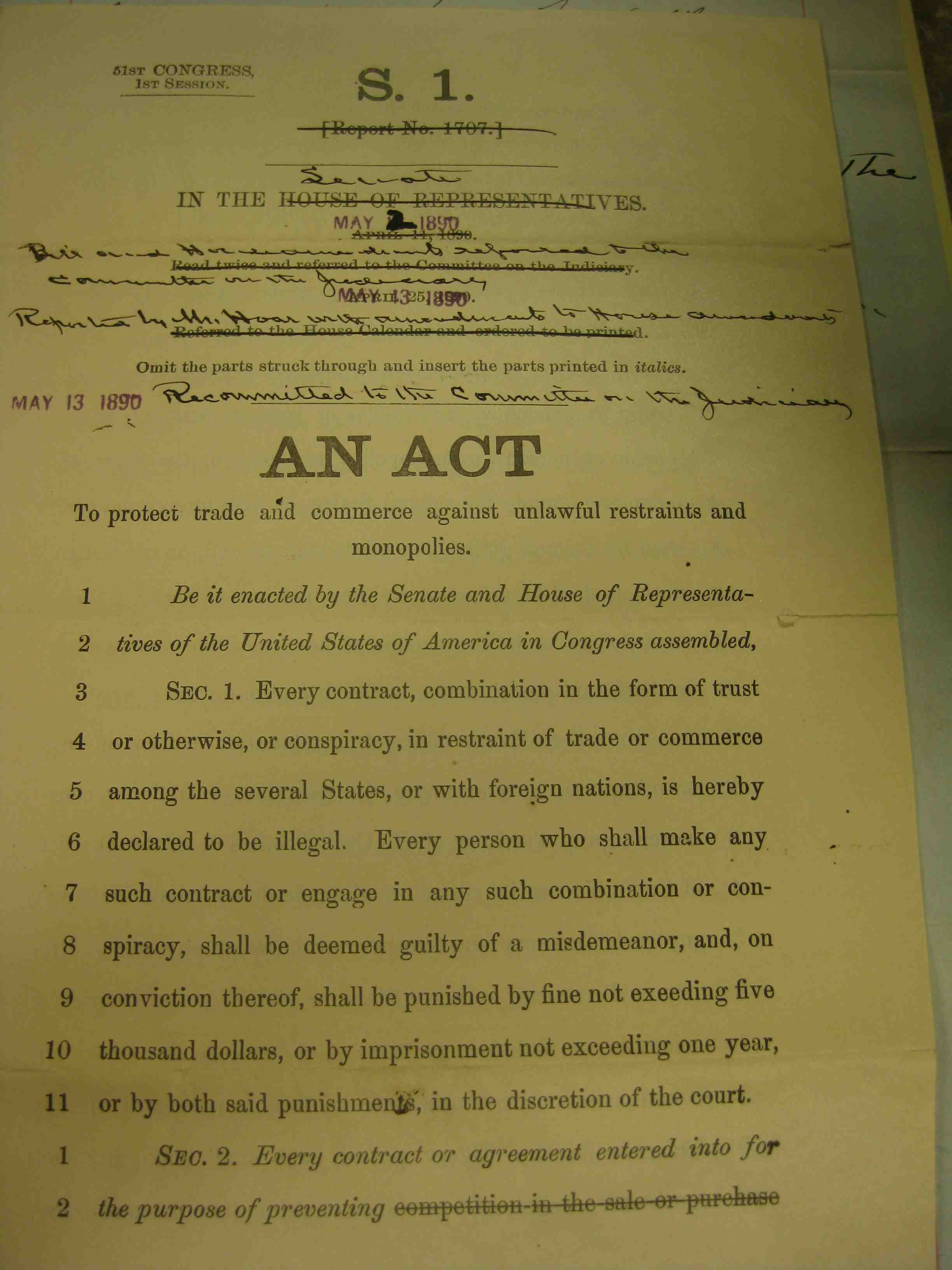 an analysis of sherman anti trust act of 1890 Find great deals on ebay for 1890-sherman-antitrust-act shop with confidence.
