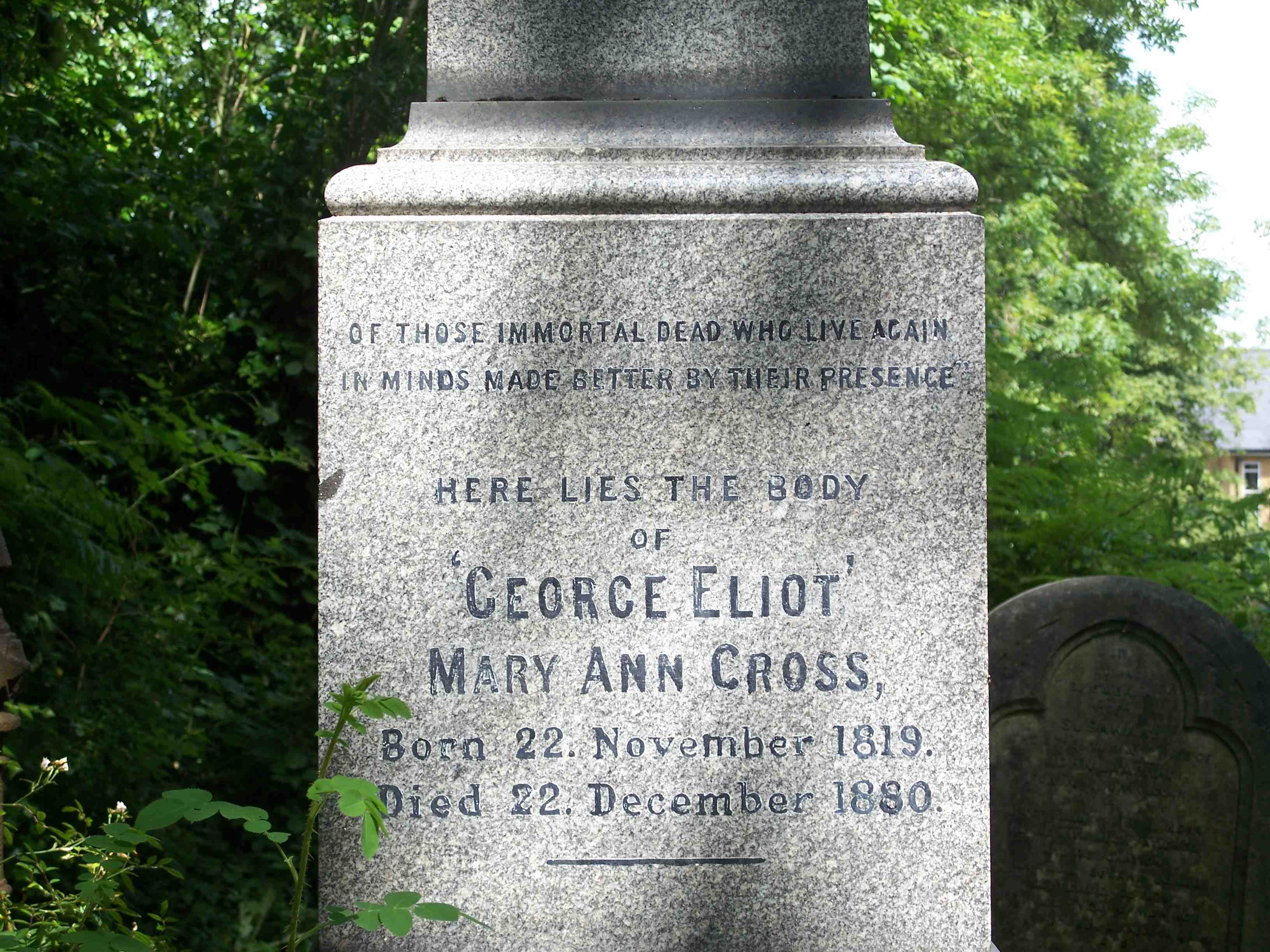 """Mary Ann Evans (""""George Eliot"""") is buried in Highgate Cemetery in London, along with Karl Marx, Herbert Spencer, and others."""