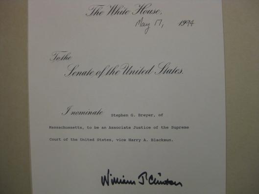 Justice Breyer's nomination